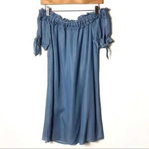IRIS Chambray Off Shoulder Tie Sleeve Shift Dress